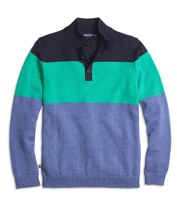 Color-Block Mockneck Sweater Navy