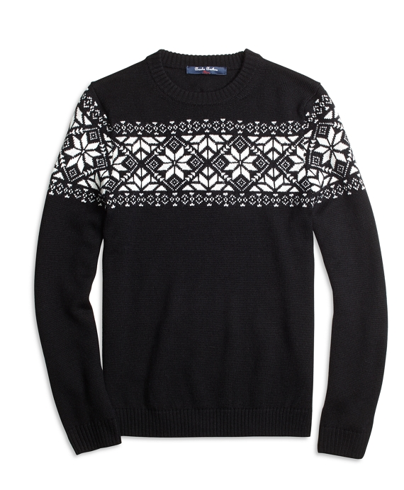 Wool Blend Snowflake Fair Isle Sweater Black