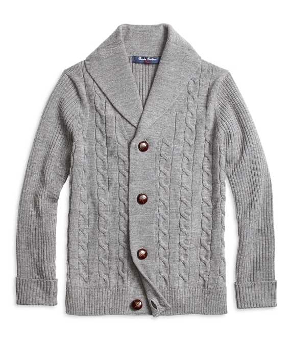 Merino Wool Shawl Cable Cardigan