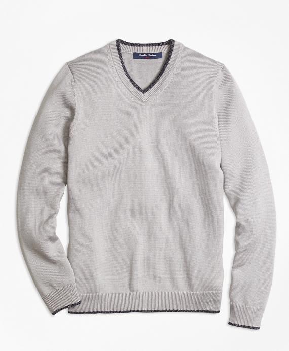 Supima® Cotton V-Neck Sweater Grey