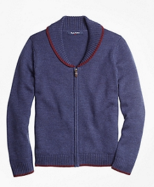 Merino Wool Shawl Collar Sweater