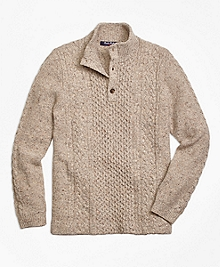 Wool Fisherman Cable Mockneck Sweater