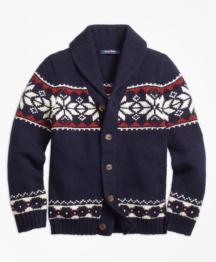 Wool Blend Fair Isle Cardigan