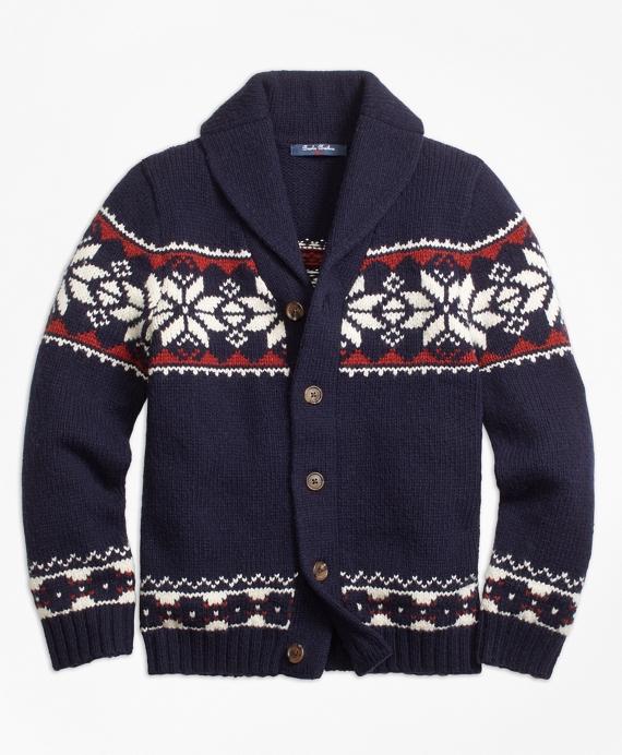Wool Blend Fair Isle Cardigan Navy