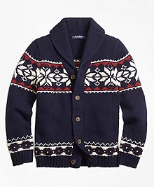 Wool Blend Fair Isle Cardigan