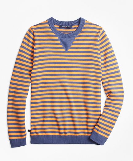 Supima® Cotton Striped Crewneck Sweater