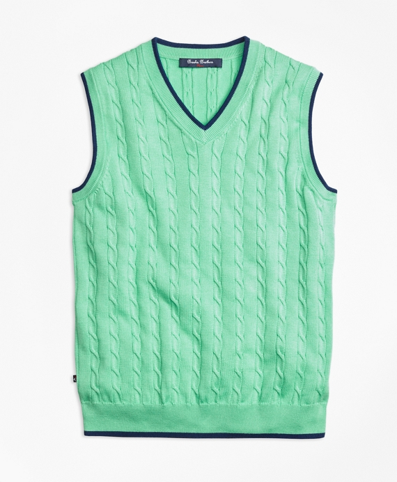Supima® Cotton Cable Tipped Vest Light Green