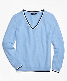 Supima® Cotton Tipped V-Neck Sweater
