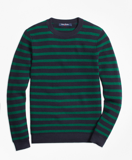 Cotton Waffle Stitch Stripe Crewneck Sweater