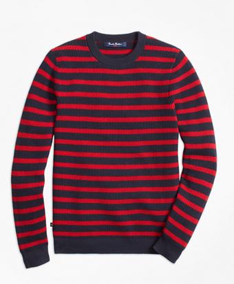 Cotton Waffle Stitch Stripe Crewneck Sweater