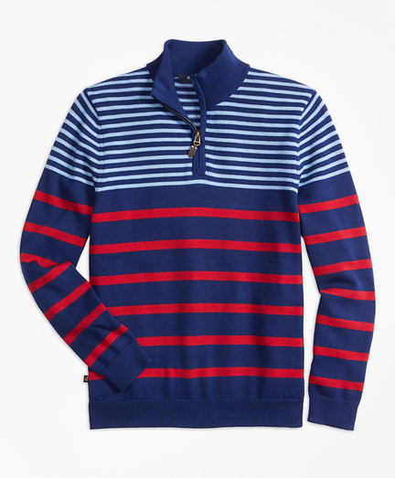 Cotton Alternate Stripe Half-Zip Sweater
