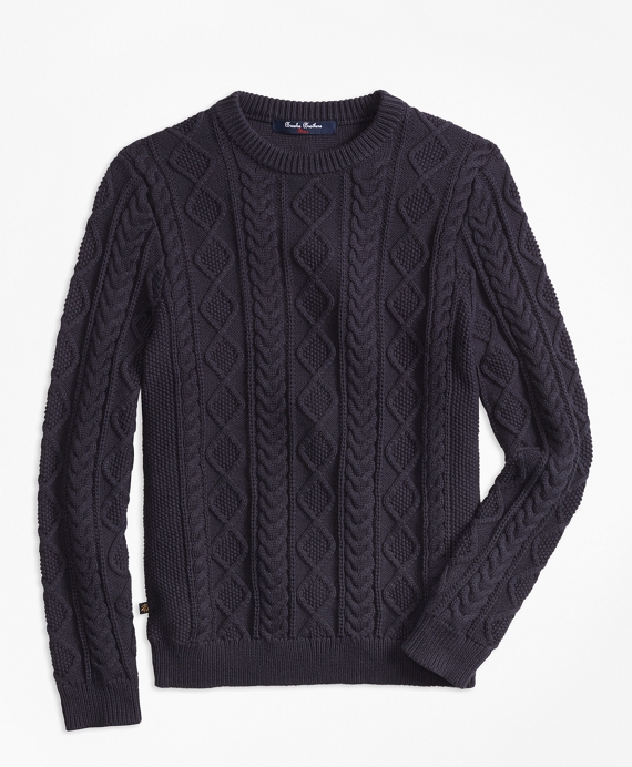 Aran Cable Crewneck Sweater Navy