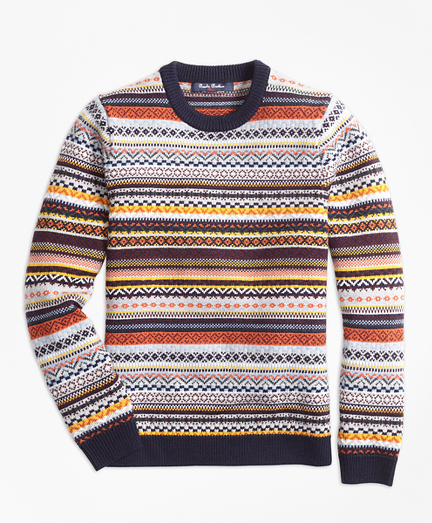 Merino Wool Fair Isle Crewneck Sweater