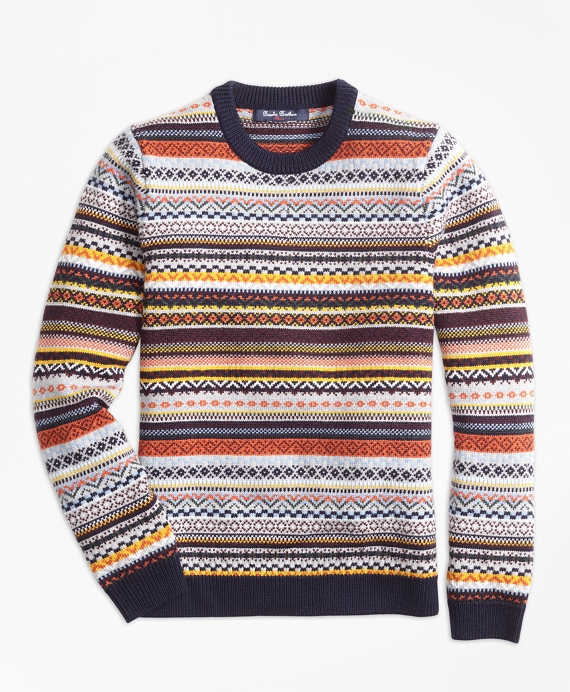 Merino Wool Fair Isle Crewneck Sweater - Brooks Brothers