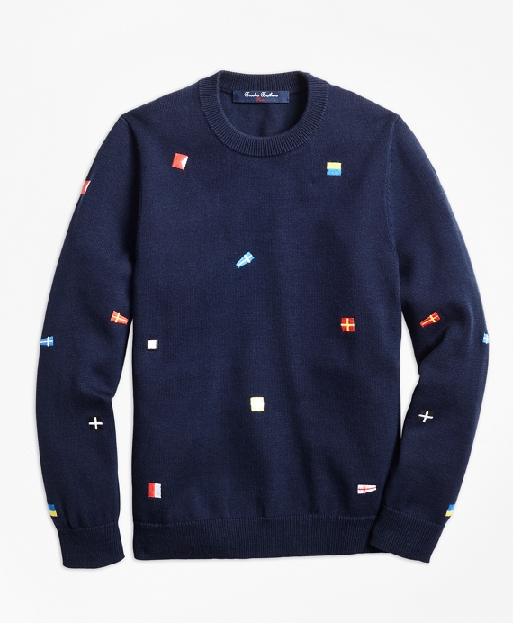 Cotton Flag Embroidered Sweater Navy