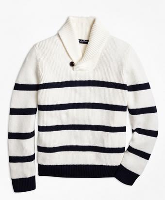 Cotton Stripe Shawl Collar Sweater