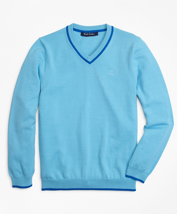 Cotton V-Neck Tipped Sweater Bright Blue