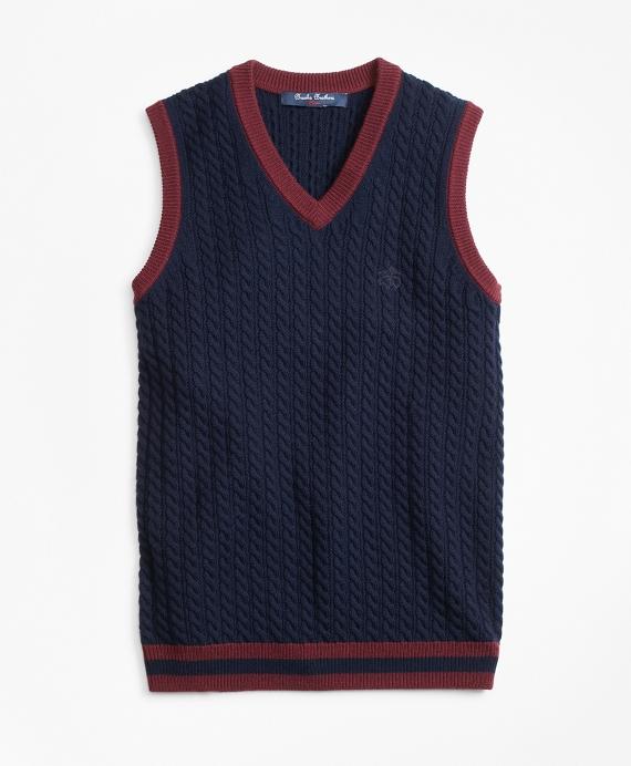 Wool V-Neck Vest Navy