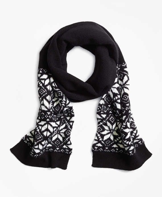 Wool Blend Snowflake Fair Isle Scarf Black-White