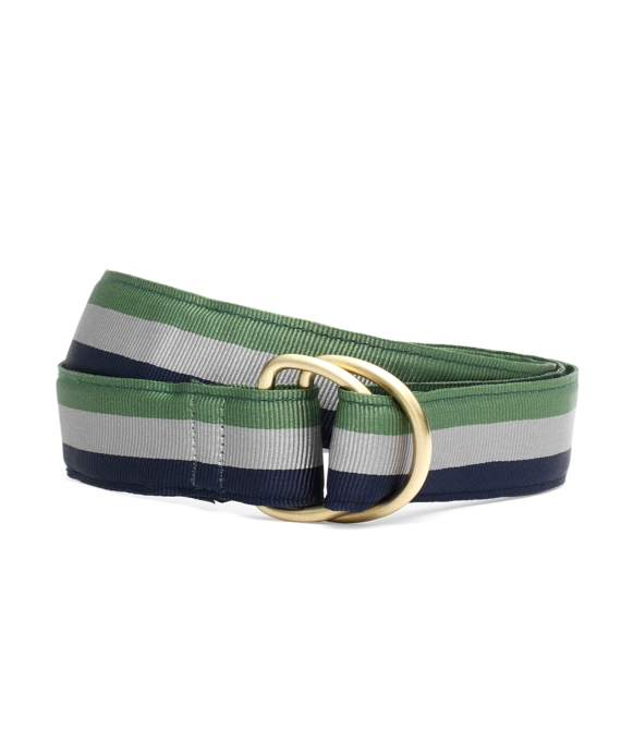 Stripe Ribbon Belt Green-Silver-Navy