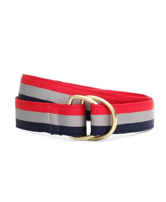 Stripe Ribbon Belt Red-Silver-Navy
