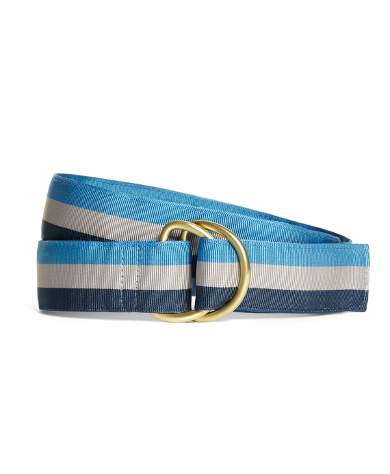 Stripe Grosgrain Ribbon Belt Blue-Grey-Navy