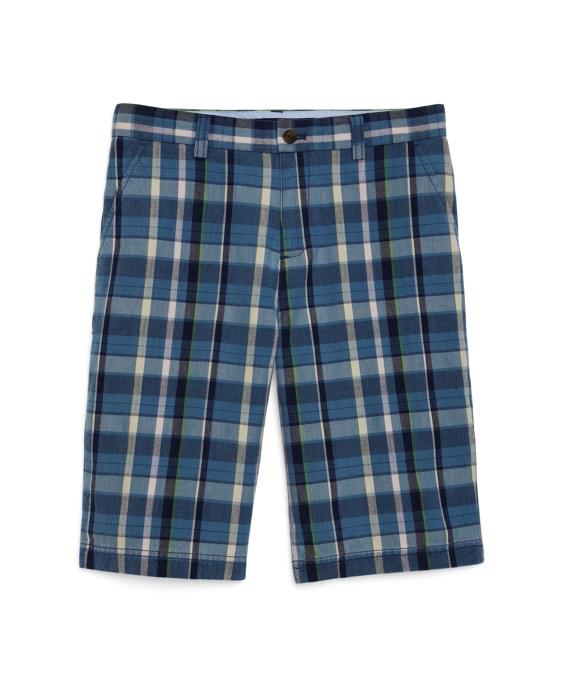 Plain-Front Madras Shorts Navy