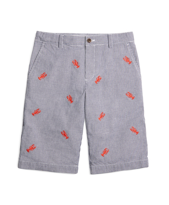 Gingham Embroidered Lobster Shorts Blue