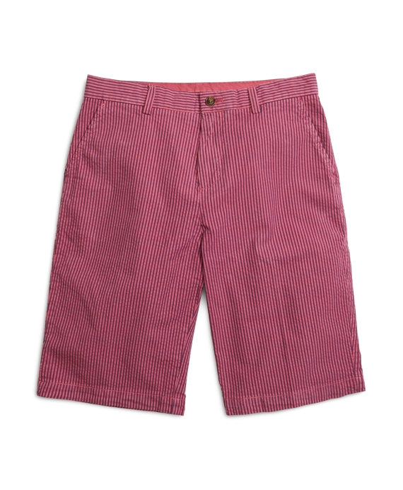 Over-Dyed Seersucker Shorts Dark Pink