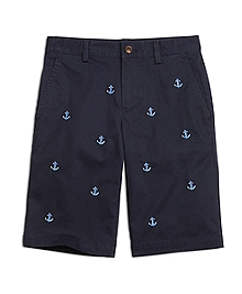 Anchor and Rope Embroidered Chino Shorts