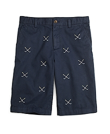 Embroidered Washed Chino Shorts