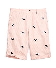 Seersucker Embroidered Shorts