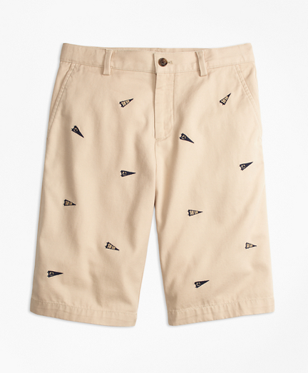 Washed Cotton Stretch Embroidered Chino Shorts