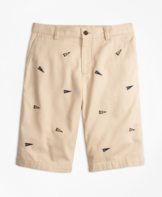 Washed Cotton Stretch Embroidered Chino Shorts Khaki