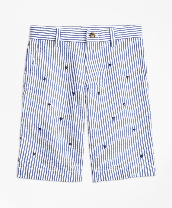 Embroidered Seersucker Shorts Blue