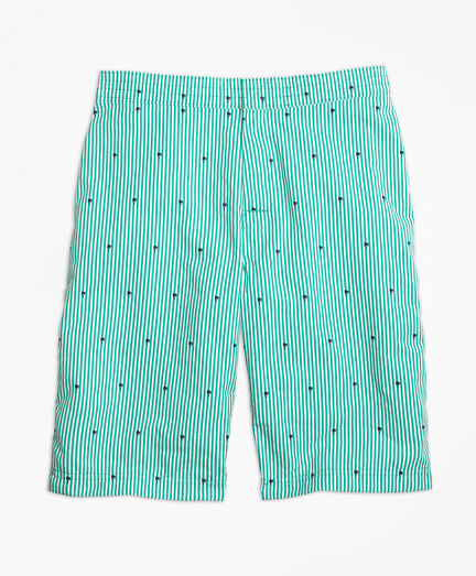 Seersucker Palm Tree Printed Board Shorts
