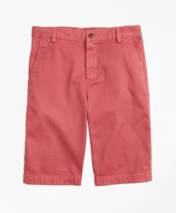 Washed Cotton Stretch Chino Shorts Brick