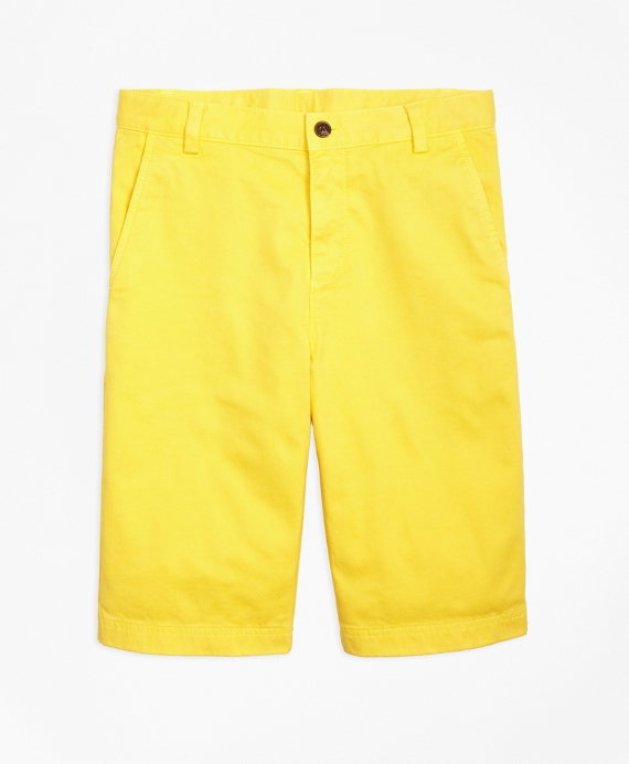 Washed Cotton Stretch Chino Shorts Yellow