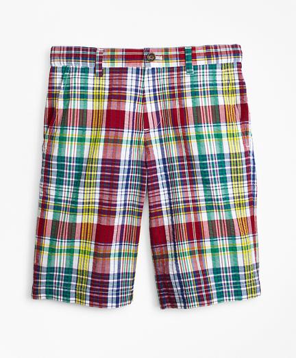 Cotton Madras Seersucker Shorts