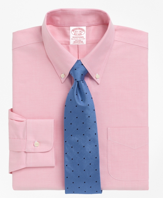 Non-Iron Traditional Fit BrooksCool® Button-Down Collar Dress Shirt Pink