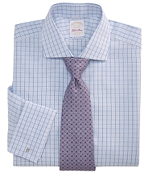 Golden Fleece® All-Cotton Regular Fit Windowpane Check French Cuff Dress Shirt