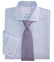 Golden Fleece® All-Cotton Regular Fit Windowpane Check French Cuff Dress Shirt