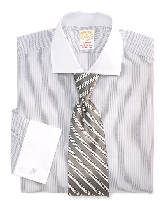 Golden Fleece® Madison Fit Framed Stripe French Cuff Dress Shirt White