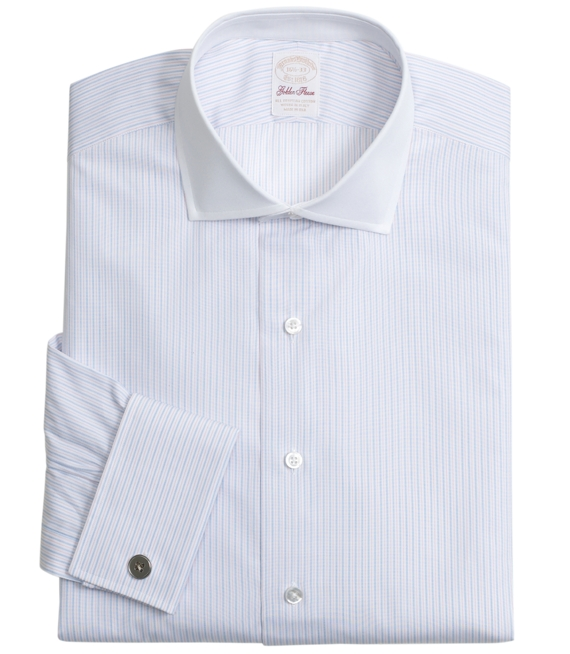 Golden Fleece® All-Cotton Regular Fit Alternating Framed Stripe Dress Shirt White
