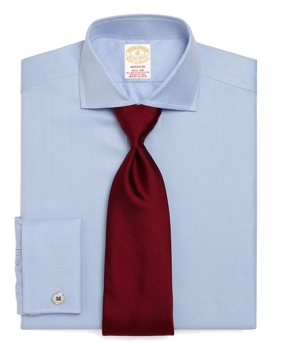 Golden Fleece® Madison Fit Herringbone French Cuff Dress Shirt Light Blue
