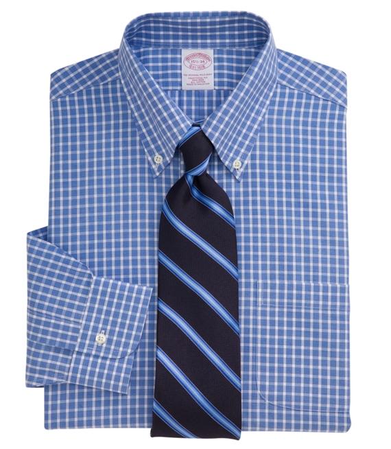 Non-Iron End-On-End Tattersall Dress Shirt Blue