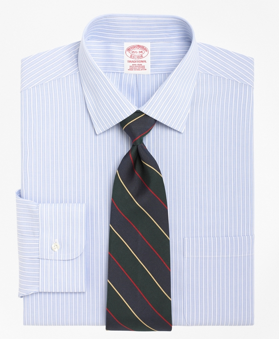 Non-Iron Traditional Fit Ground Stripe Dress Shirt Blue