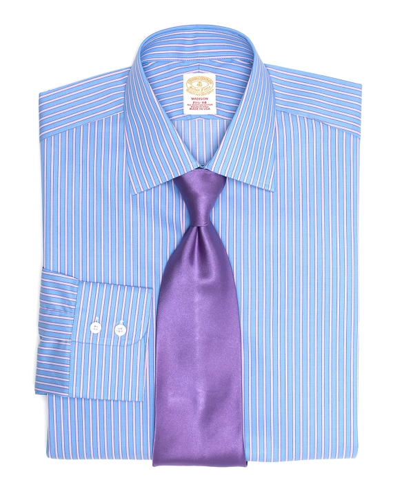 Golden Fleece® Madison Fit Split Frame Stripe Dress Shirt Blue