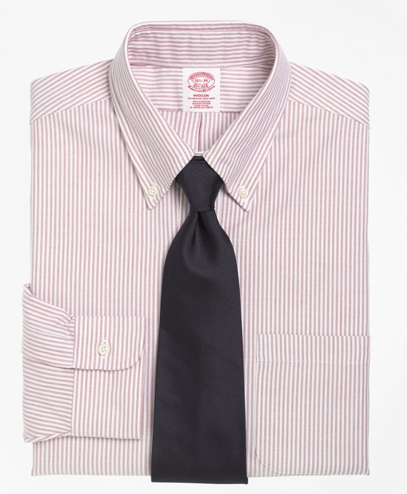 Madison Fit Stripe Dress Shirt Red
