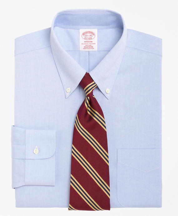 Non-Iron Madison Fit Button-Down Collar Dress Shirt Light Blue